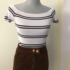Striped off the shoulder top F21